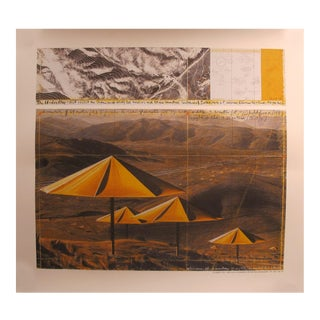 1991 German Exhibition Poster, Christo, the Yellow Umbrellas For Sale