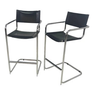 Mart Stam Cantilever Chrome Leather Bar Stools, Italian - a Pair For Sale