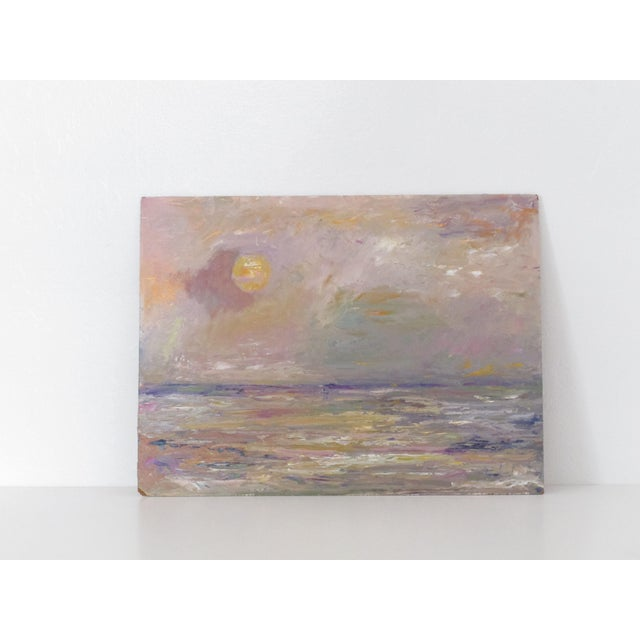 Abstract Seascape at Dusk Oil Painting - Image 2 of 3