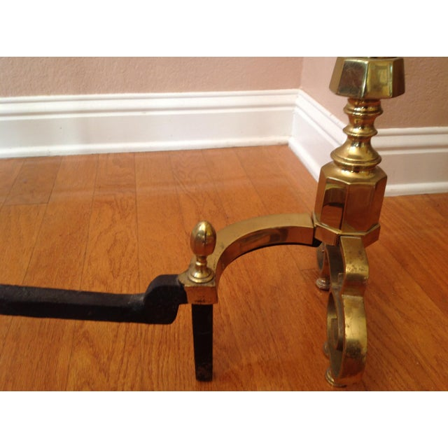 Metal 20th Century Traditional Brass Fireplace Andirons - a Pair For Sale - Image 7 of 12