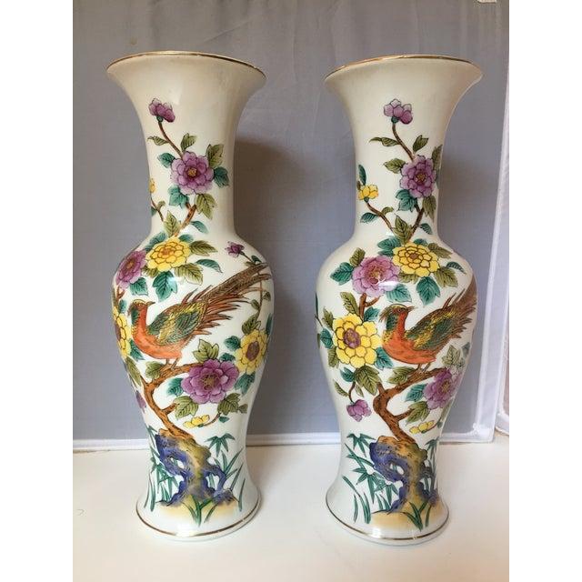Porcelain Pheasant Vases - A Pair - Image 2 of 6