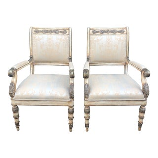Pair of William Switzer Russian Imperial Arm Chairs by Charles Pollock For Sale