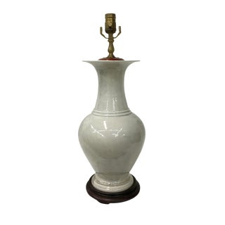 1960's Blanc De Chine Crackle Vase Lamp