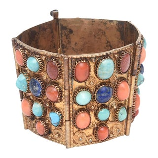 Egyptian Revival Coral, Turquoise and Lapis Vermeil Cuff Bracelet For Sale