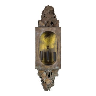 Mid 20th Century Long Sculptural Brutalist Brass Sconce by Tom Greene For Sale