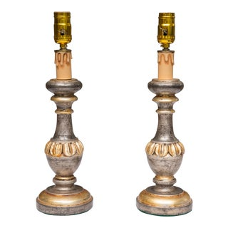 Pair of Silver and Parcel Gilt Candle Sticks as Lamps For Sale