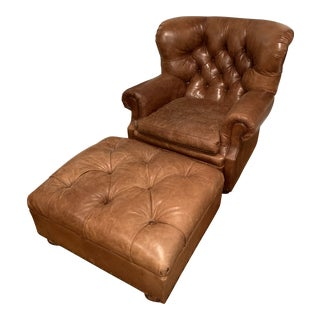 Ralph Lauren Tufted Leather Writer Chair and Ottoman For Sale