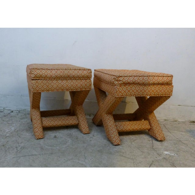 X Base Upholstered Stools - A Pair For Sale - Image 4 of 8