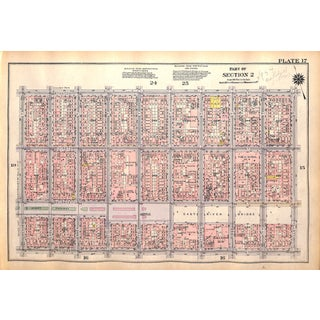 New York City Map, Les, Williamsburg Br., Stanton, Delancey Broome, Orchard, Mott, Mulberry,Streets, (Pl. 17-18) 1927 For Sale