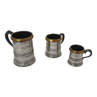 Antique London Pewter & Brass Imperial Measures Matched Set 3 For Sale
