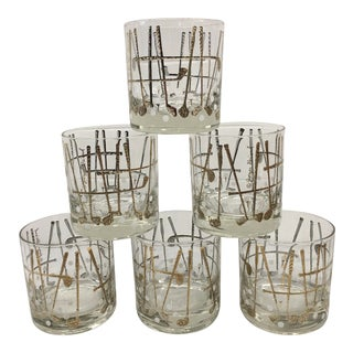 Georges Briard 22k Country Club Golf Cocktail Glasses - Set of 6