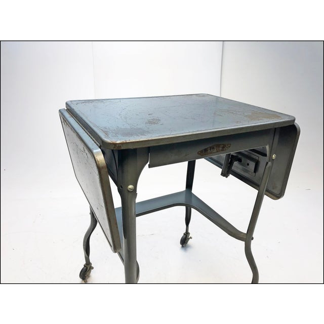 Vintage Industrial Gray Metal Typewriter Table with Double Drop Leaf For Sale - Image 9 of 13