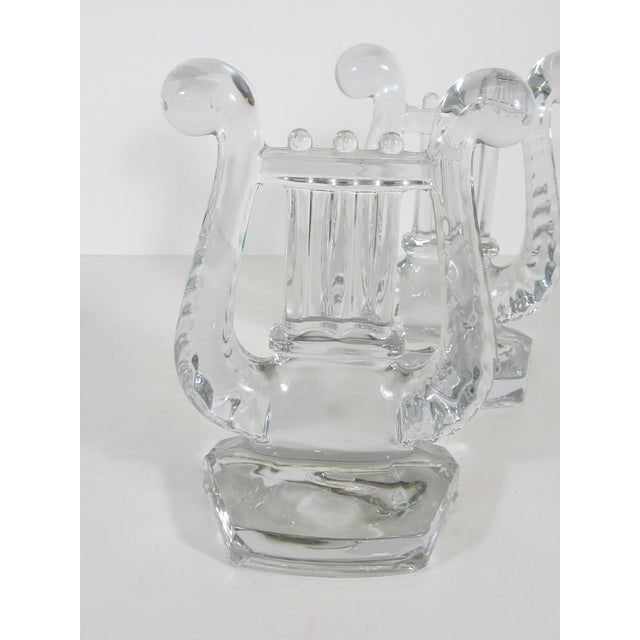 Traditional Glass Lyre Bookends For Sale - Image 3 of 4