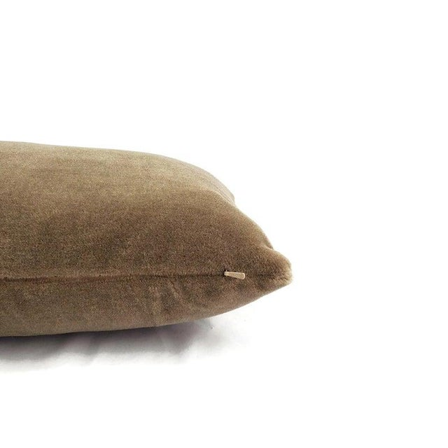 "Transitional Maharam Mohair Supreme in Stonehenge Lumbar Pillow Cover - 12"" X 20"" Solid Stone Brown Mohair Velvet Rectangle Cushion Case For Sale - Image 3 of 6"