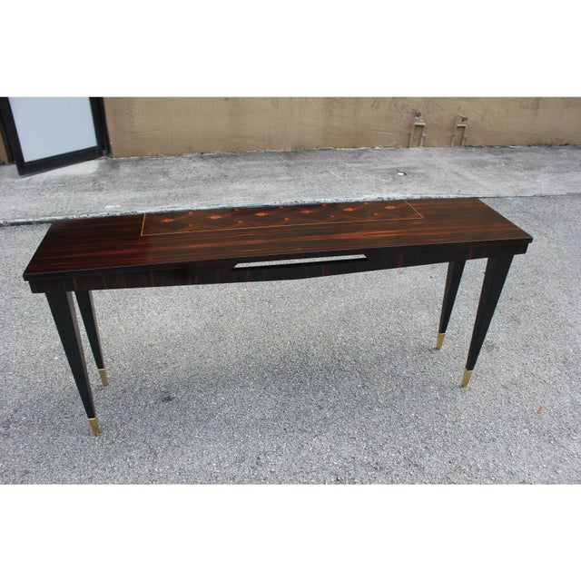 Gold French Art Deco Exotic Macassar Ebony Console Table, Circa 1940s For Sale - Image 8 of 13