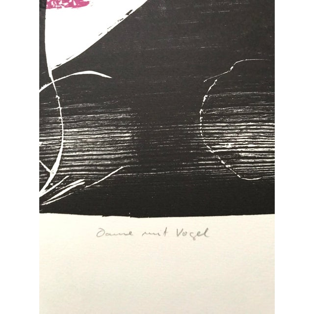Drawing/Sketching Materials 1966 - Waltraud Zeisig - Signed Linocut 'Dame'Mit Vogel' For Sale - Image 7 of 10