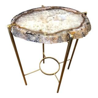 Modern Gray Pink and Smokey White Quartz Tea Table For Sale