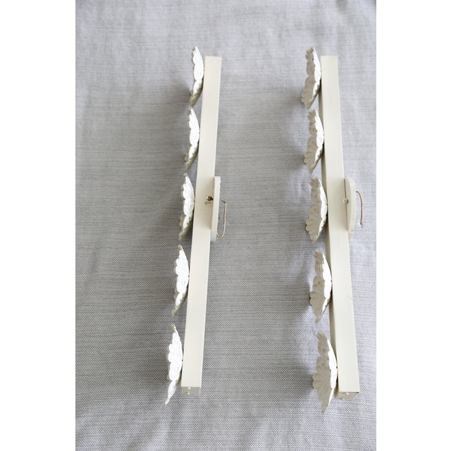 Shabby Chic Vintage White Floral Wall Lights - a Pair For Sale - Image 3 of 8