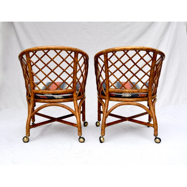 Chinoiserie Chinese Chippendale Rattan Barrel Chairs on Casters For Sale - Image 10 of 13
