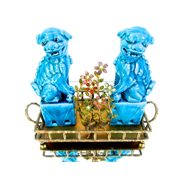 Turquoise Foo Dogs - A Pair - Image 7 of 10