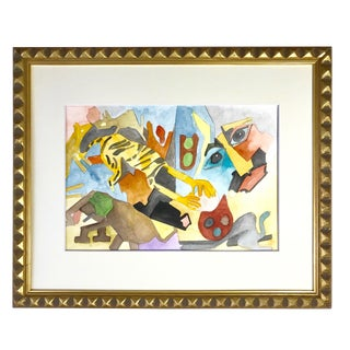 Vintage Original Surrealist Figural Abstract Watercolor Painting For Sale