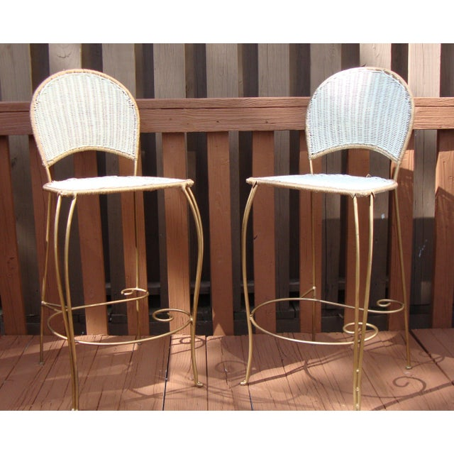 Gilt Wicker Wrought Iron Bar Stools - A Pair - Image 3 of 11