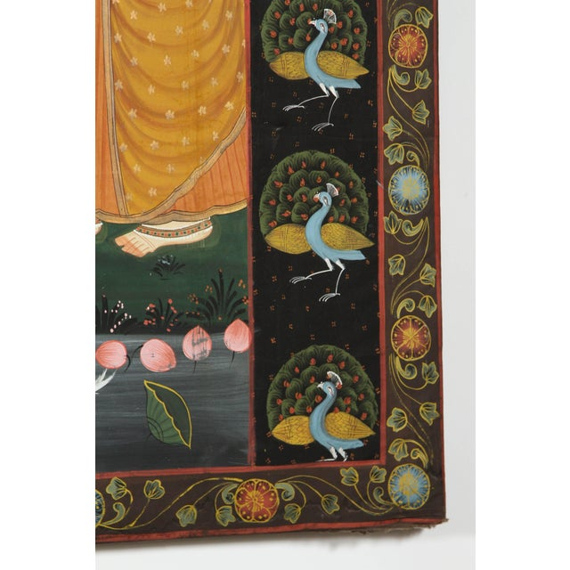 Gold Large Pichhavai Painting of Krishna With Female Gopis Dancing For Sale - Image 7 of 10