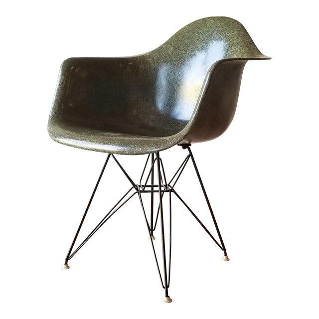 1960s Olive Green Eames DAR Eiffel Chair For Sale