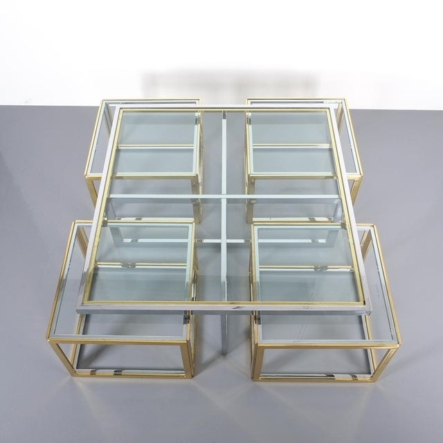 Square Segment Bicolor Brass Glass Coffee Table by Maison Charles, France 1975 For Sale - Image 6 of 13