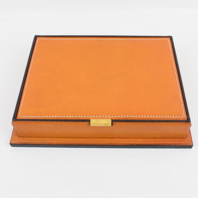 Longchamp Hand-Stitched Leather Box For Sale - Image 10 of 13
