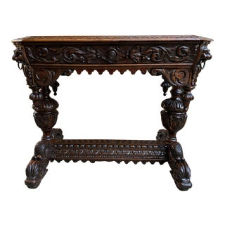 19th Century Petite French Carved Oak Dolphin Table Desk Renaissance Gothic For Sale