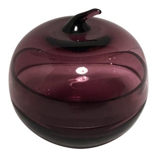 Purple Glass Apple Keepsake Box For Sale