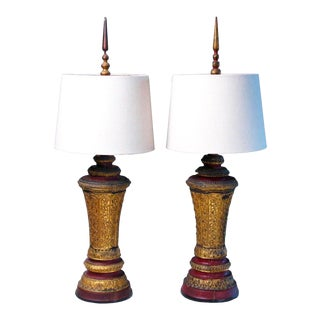 Antique Cambodian Wood Urn Lamps With Shade - A Pair For Sale