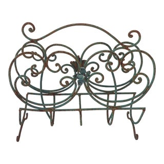 Distressed Patio Iron Magazine Rack For Sale