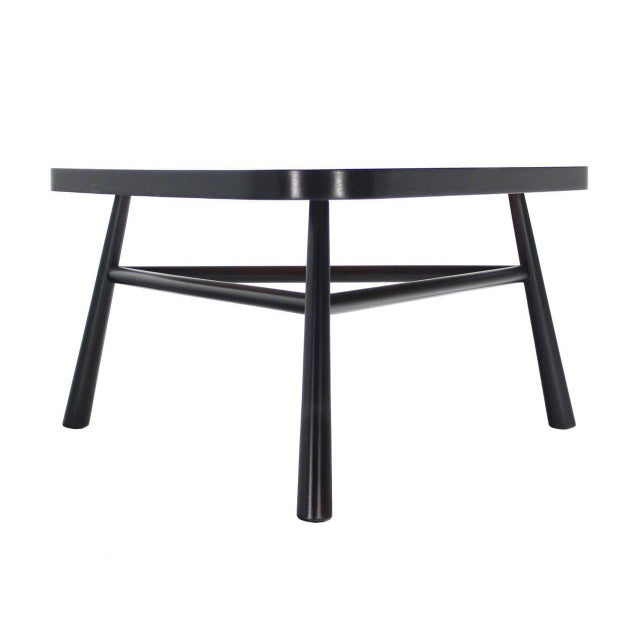 Early 20th Century Gibbings Black Lacquer Triangular Coffee Table For Sale - Image 5 of 8