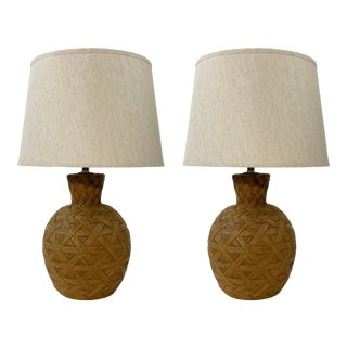 Woven Resin Table Lamps - a Pair For Sale