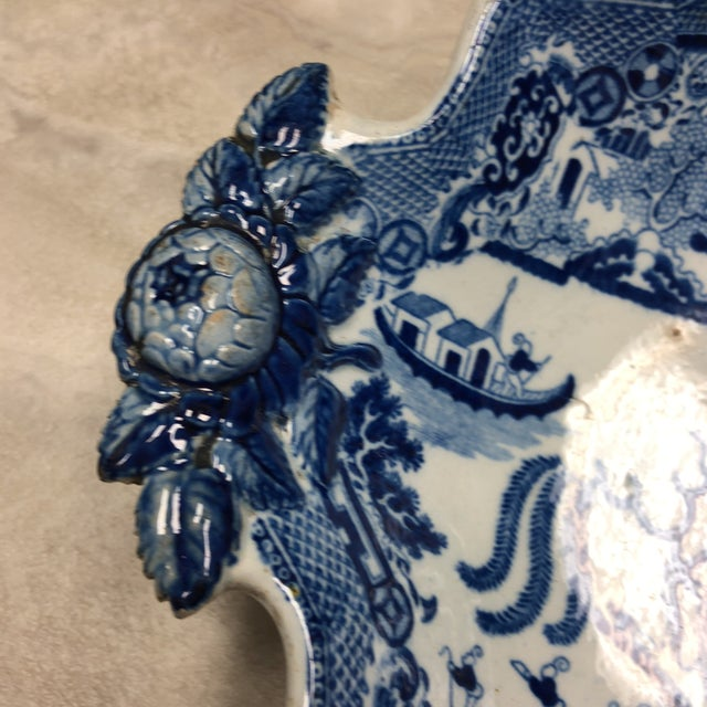Asian 1800's Antique Rogers Blue Willow Serving Dish For Sale - Image 3 of 8