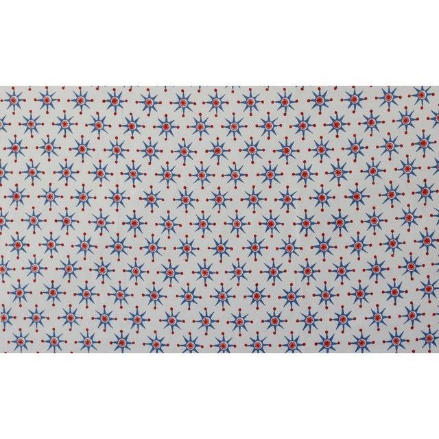 Virginia Kraft Prinz Fabric, 3 Yards in Denim/barn red For Sale