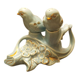 Pearl China Co. Gold & Blue Bird Salt & Pepper Shakers