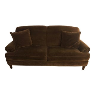 Traditional Chocolate Velvet Sofa For Sale