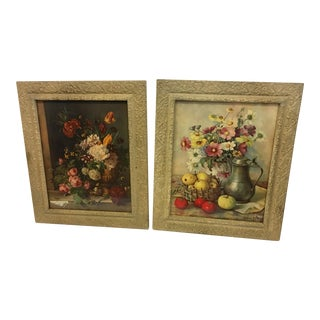 Victorian Floral Prints Wood & Gesso Frames - a Pair For Sale