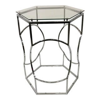 Modern Geometric Polished Nickel and Glass Side Table For Sale