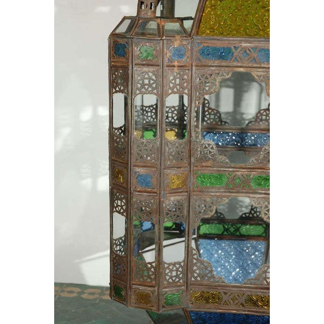 Vintage Moorish Glass Lantern From Marrakech For Sale - Image 4 of 10