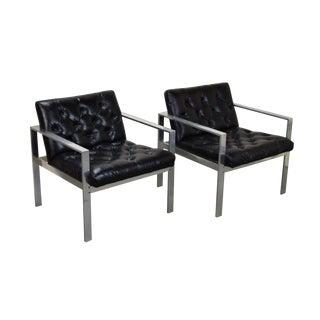 Mid-Century Modern Milo Baughman Style Chrome Steel Armchairs - a Pair For Sale