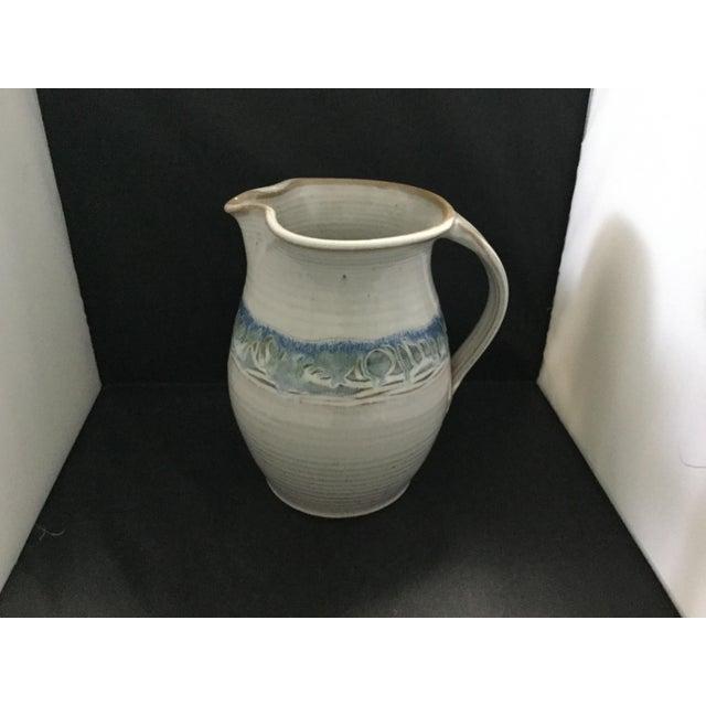 Ceramic White and Blue Potter J. Preston Pitcher For Sale - Image 6 of 7