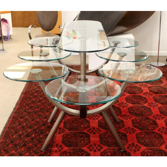 1980s Contemporary Modern Glass & Steel Banquet Dining Table Dia 1980s Circle of Life For Sale - Image 5 of 12