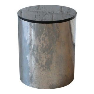 Paul Mayen for Habitat Polished Aluminum and Black Granite Drum End Table For Sale