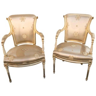 Louis XVI Style Hollywood Regency Fauteuils Scalamandre Silk Upholstery Jansen For Sale