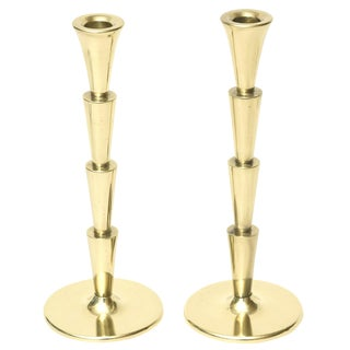 Art Deco Brass Tired Candlesticks - a Pair Final Markdown For Sale