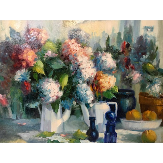 Mid-Century framed oil on canvas by listed Spanish artist Manuel Cuberos( b 1933). Subject is a still life with hydrangea...